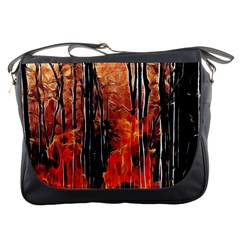 Forest Fire Fractal Background Messenger Bags