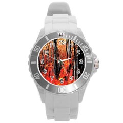Forest Fire Fractal Background Round Plastic Sport Watch (L)