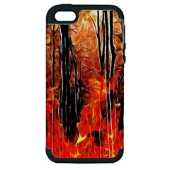 Forest Fire Fractal Background Apple iPhone 5 Hardshell Case (PC+Silicone)