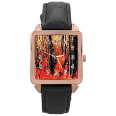 Forest Fire Fractal Background Rose Gold Leather Watch
