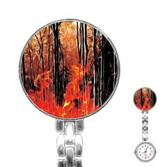 Forest Fire Fractal Background Stainless Steel Nurses Watch