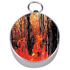 Forest Fire Fractal Background Silver Compasses