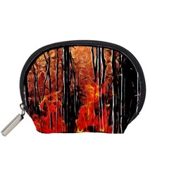 Forest Fire Fractal Background Accessory Pouches (Small)