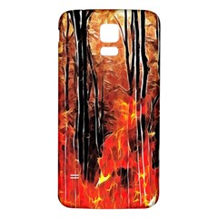 Forest Fire Fractal Background Samsung Galaxy S5 Back Case (White)