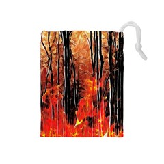 Forest Fire Fractal Background Drawstring Pouches (Medium)