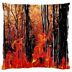 Forest Fire Fractal Background Large Flano Cushion Case (One Side)