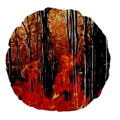 Forest Fire Fractal Background Large 18  Premium Flano Round Cushions