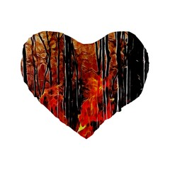 Forest Fire Fractal Background Standard 16  Premium Flano Heart Shape Cushions
