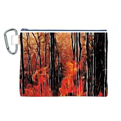 Forest Fire Fractal Background Canvas Cosmetic Bag (L)