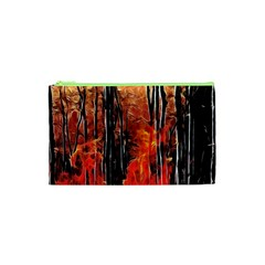 Forest Fire Fractal Background Cosmetic Bag (XS)