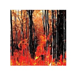 Forest Fire Fractal Background Small Satin Scarf (Square)