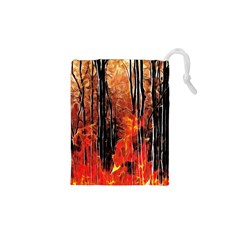 Forest Fire Fractal Background Drawstring Pouches (xs)