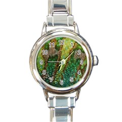 Colorful Chameleon Skin Texture Round Italian Charm Watch