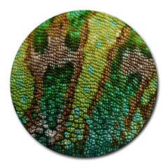 Colorful Chameleon Skin Texture Round Mousepads
