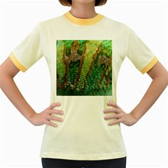 Colorful Chameleon Skin Texture Women s Fitted Ringer T-Shirts