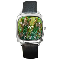 Colorful Chameleon Skin Texture Square Metal Watch