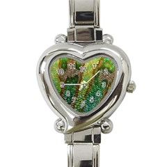 Colorful Chameleon Skin Texture Heart Italian Charm Watch