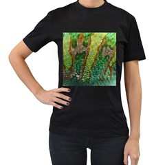 Colorful Chameleon Skin Texture Women s T Shirt (black) (two Sided)
