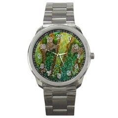 Colorful Chameleon Skin Texture Sport Metal Watch