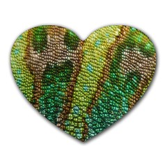 Colorful Chameleon Skin Texture Heart Mousepads
