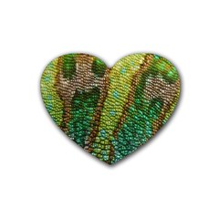 Colorful Chameleon Skin Texture Heart Coaster (4 Pack)