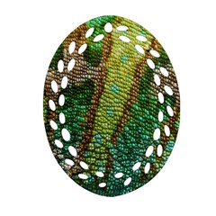 Colorful Chameleon Skin Texture Oval Filigree Ornament (Two Sides)