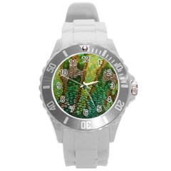 Colorful Chameleon Skin Texture Round Plastic Sport Watch (L)