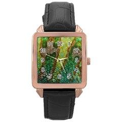 Colorful Chameleon Skin Texture Rose Gold Leather Watch