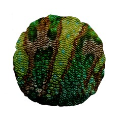 Colorful Chameleon Skin Texture Standard 15  Premium Flano Round Cushions