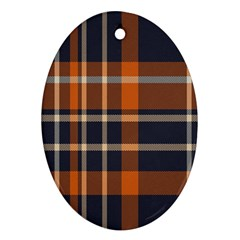 Tartan Background Fabric Design Pattern Ornament (oval)