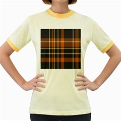 Tartan Background Fabric Design Pattern Women s Fitted Ringer T Shirts