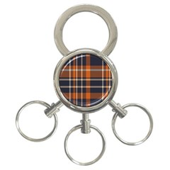 Tartan Background Fabric Design Pattern 3 Ring Key Chains