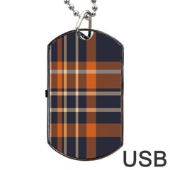 Tartan Background Fabric Design Pattern Dog Tag USB Flash (One Side)