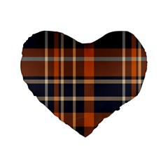 Tartan Background Fabric Design Pattern Standard 16  Premium Heart Shape Cushions