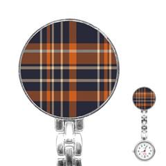 Tartan Background Fabric Design Pattern Stainless Steel Nurses Watch