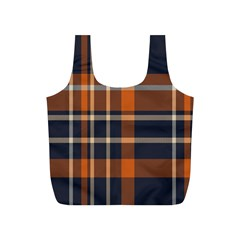Tartan Background Fabric Design Pattern Full Print Recycle Bags (S)