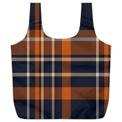 Tartan Background Fabric Design Pattern Full Print Recycle Bags (L)