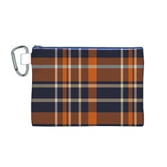 Tartan Background Fabric Design Pattern Canvas Cosmetic Bag (M)