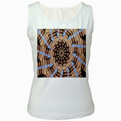 Manipulated Reality Of A Building Picture Women s White Tank Top