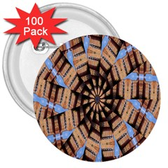 Manipulated Reality Of A Building Picture 3  Buttons (100 pack)
