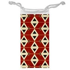 Triangle Arrow Plaid Red Jewelry Bag