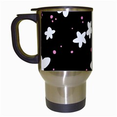 Square Pattern Black Big Flower Floral Pink White Star Travel Mugs (white)