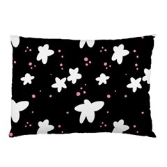 Square Pattern Black Big Flower Floral Pink White Star Pillow Case