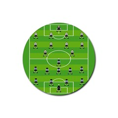 Soccer Field Football Sport Rubber Round Coaster (4 Pack)