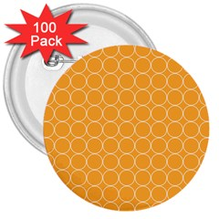 Yellow Circles 3  Buttons (100 Pack)