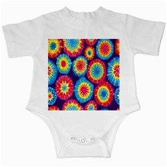 Tie Dye Circle Round Color Rainbow Red Purple Yellow Blue Pink Orange Infant Creepers