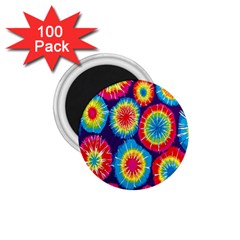 Tie Dye Circle Round Color Rainbow Red Purple Yellow Blue Pink Orange 1 75  Magnets (100 Pack)