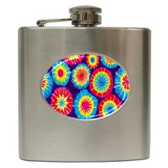 Tie Dye Circle Round Color Rainbow Red Purple Yellow Blue Pink Orange Hip Flask (6 Oz)