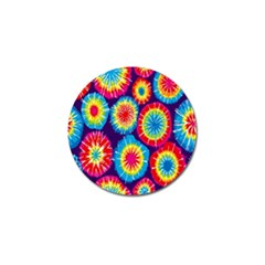 Tie Dye Circle Round Color Rainbow Red Purple Yellow Blue Pink Orange Golf Ball Marker (4 Pack)