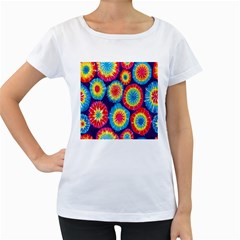 Tie Dye Circle Round Color Rainbow Red Purple Yellow Blue Pink Orange Women s Loose Fit T Shirt (white)